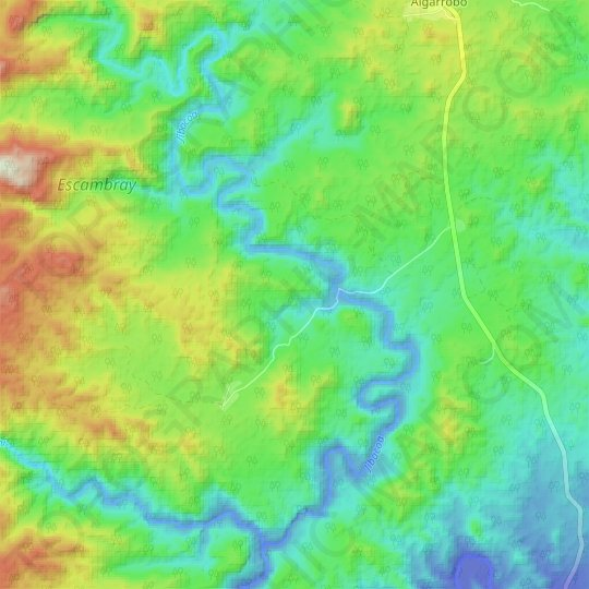 Jibacoa topographic map, relief map, elevations map