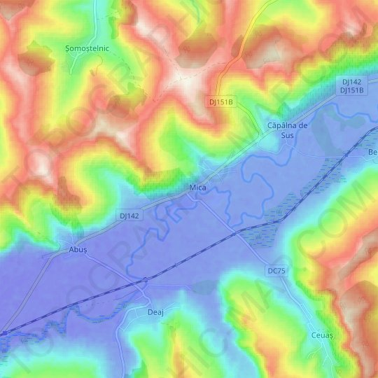 Mureș topographic map, relief map, elevations map