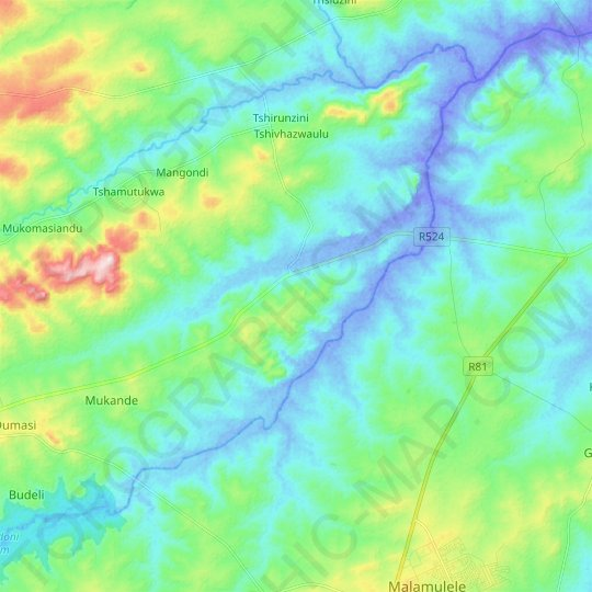 Luvuvhu topographic map, relief map, elevations map
