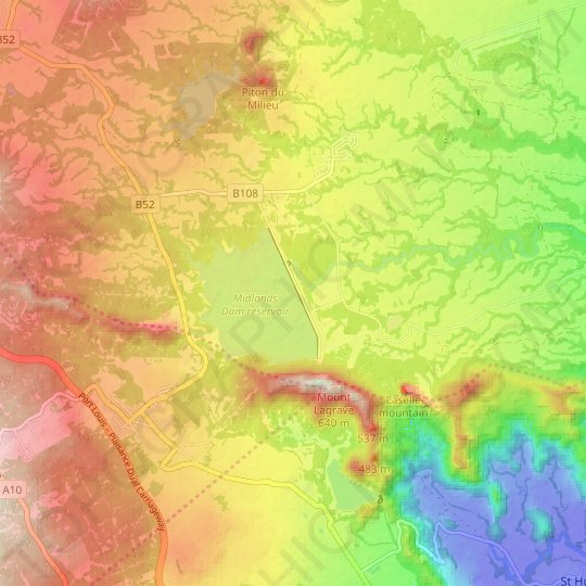 Midlands Dam topographic map, relief map, elevations map