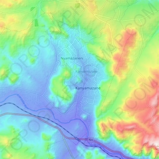 Kanyamazane topographic map, elevation, relief