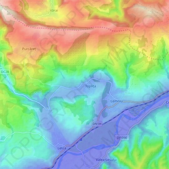 Sălaj topographic map, relief map, elevations map